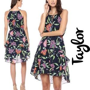 Taylor NWT Floral Print Keyhole Front Tiered Dress